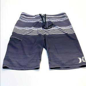 HURLEY PHANTOM Mens 30 Black & Silver Board Shorts